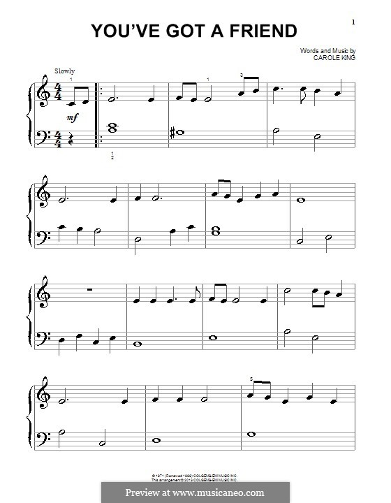 You've Got a Friend: Для фортепиано by Carole King