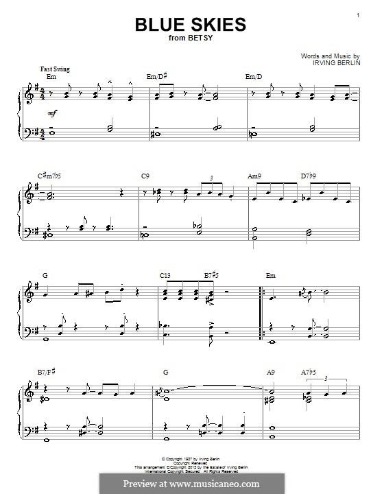 Blue Skies: Для фортепиано (jazz version) by Ирвинг Берлин
