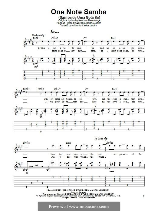 One Note Samba (Samba De Uma Nota): Для гитары с табулатурой by Antonio Carlos Jobim