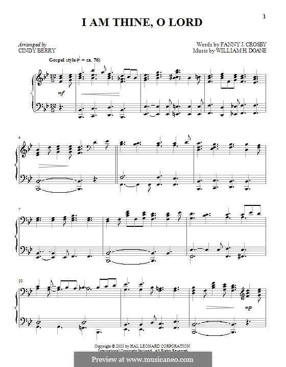 I am Thine, O Lord: Для фортепиано by William Howard Doane