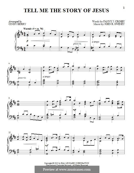 Tell Me the Story of Jesus: Для фортепиано by John Robson Sweney