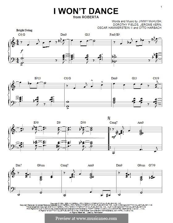 I Won't Dance: Для фортепиано by Джером Керн