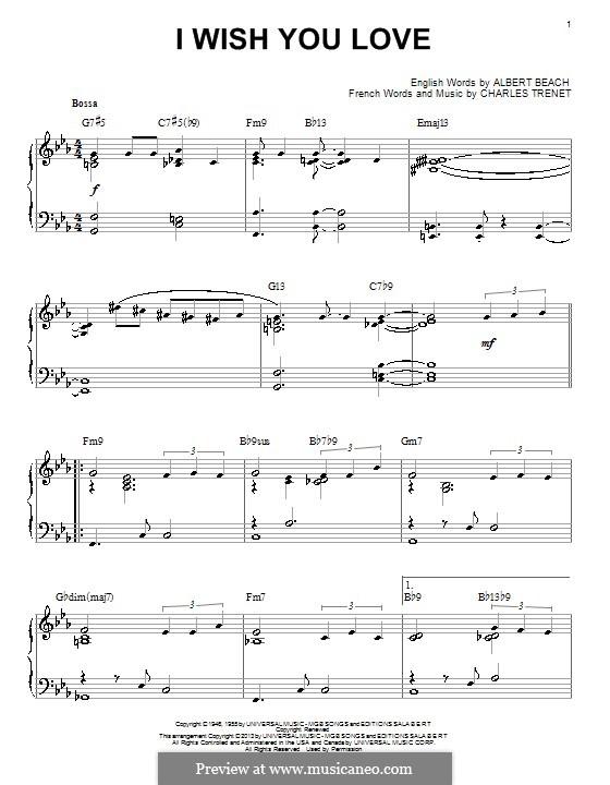 I Wish You Love: Для фортепиано by Charles Trenet