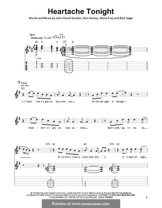 Heartache Tonight (The Eagles): Для гитары с табулатурой by Bob Seger, Don Henley, Glen Frey, John David Souther