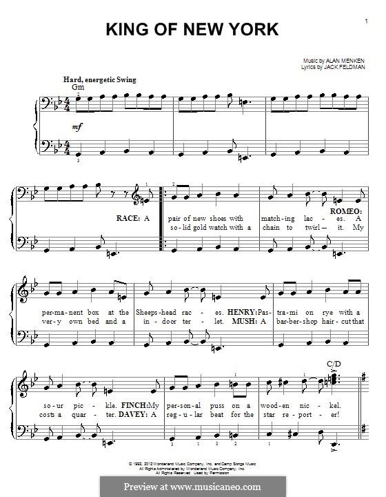King of New York (from Newsies): Для фортепиано by Alan Menken