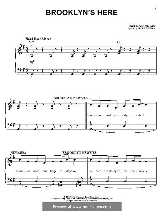 Brooklyn's Here: Для фортепиано by Alan Menken