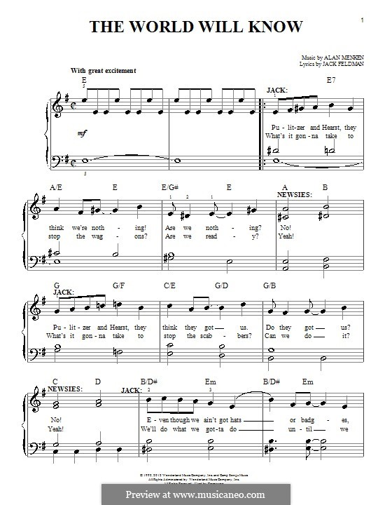 The World Will Know: Для фортепиано by Alan Menken