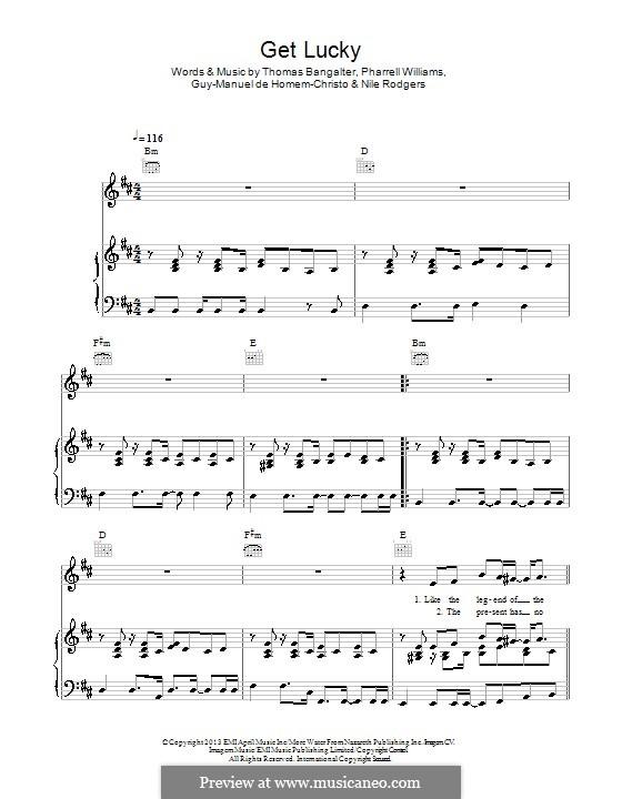 Get Lucky (Daft Punk featuring Pharrell Williams): Для голоса и фортепиано (или гитары) by Nile Rodgers, Pharrell Williams, Thomas Bangalter, Guy-Manuel de Homem-Christo