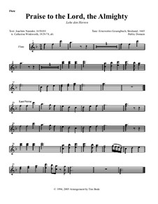Praise to the Lord, the Almighty: Instrument parts (Version by T. Bode) by Unknown (works before 1850)