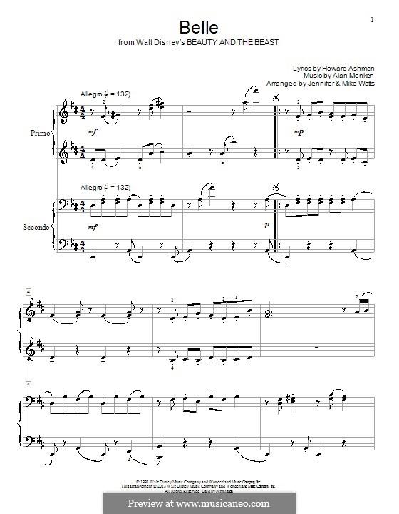 Belle (from Beauty and the Beast): Для фортепиано в 4 руки by Alan Menken