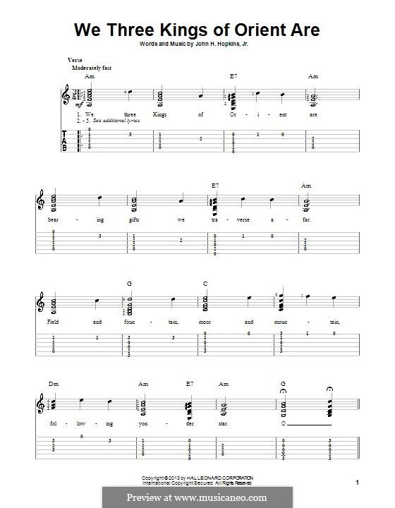 We Three Kings of Orient are: Гитарная табулатура by John H. Hopkins Jr.