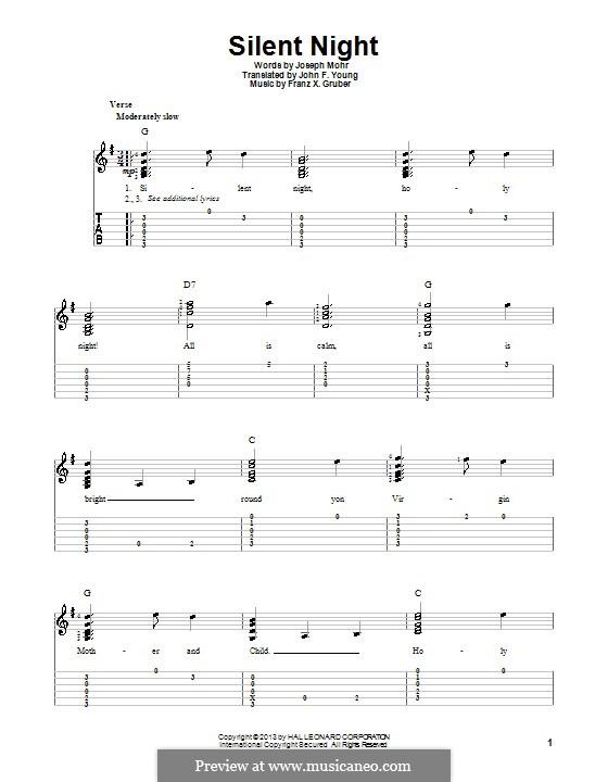 Тихая ночь (ноты для печати): Для гитары с табулатурой by Франц Ксавьер Грубер