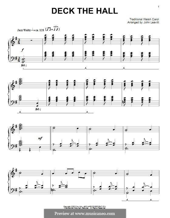 Deck the Hall, for Piano: Для одного исполнителя by folklore