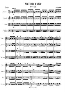 Симфония фа мажор, RV 135: Партитура, партии by Антонио Вивальди