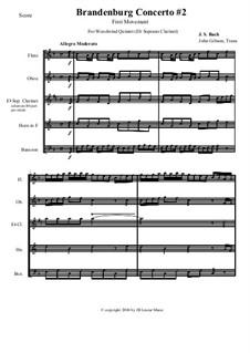 Бранденбургский концерт No.2 фа мажор, BWV 1047: Movement I, for woodwind quintet by Иоганн Себастьян Бах