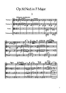 Струнный квартет No.40 фа мажор, Hob.III/48 Op.50 No.5: Партитура by Йозеф Гайдн