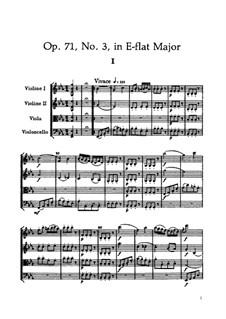Струнный квартет No.56 ми-бемоль мажор, Hob.III/71 Op.71 No.3: Партитура by Йозеф Гайдн