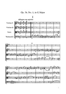 Струнный квартет No.60 соль мажор, Hob.III/75 Op.76 No.1: Партитура by Йозеф Гайдн