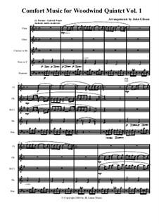 Comfort Music (music for occasions), Volume I: For woodwind quintet by Иоганн Себастьян Бах, Вольфганг Амадей Моцарт, Габриэль Форе, Иоганнес Брамс, Иоганн Пахельбель