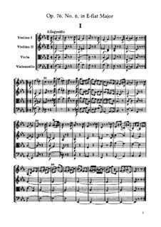 Струнный квартет No.65 ми-бемоль мажор, Hob.III/80 Op.76 No.6: Партитура by Йозеф Гайдн