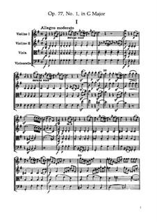 Струнный квартет No.66 соль мажор, Hob.III/81 Op.77 No.1: Партитура by Йозеф Гайдн