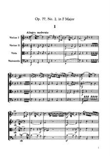 Струнный квартет No.67 фа мажор, Hob.III/82 Op.77 No.2: Партитура by Йозеф Гайдн
