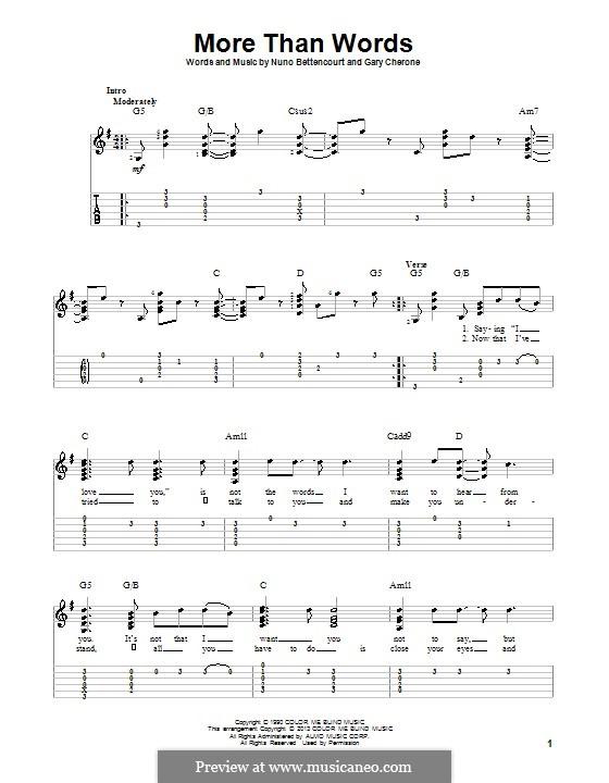 More Than Words (Extreme): Для гитары с табулатурой by Gary Cherone, Nuno Bettencourt