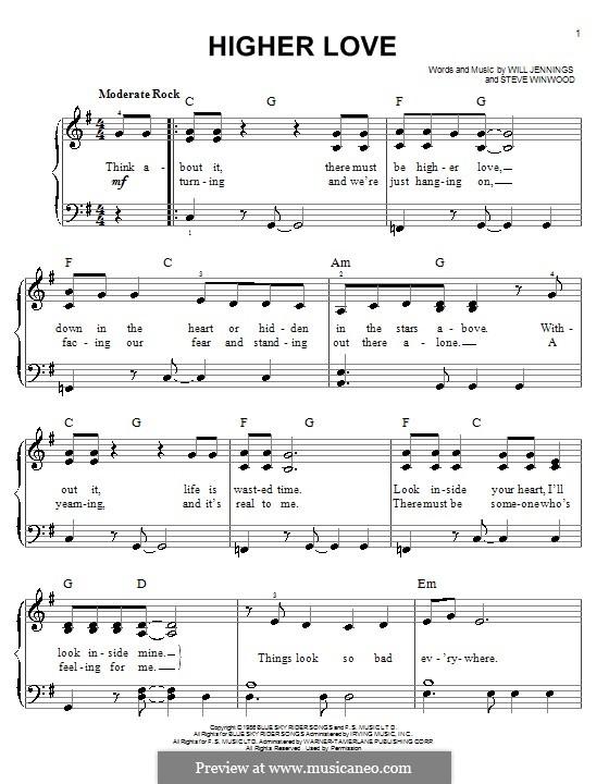 Higher Love: Для фортепиано by Steve Winwood, Will Jennings