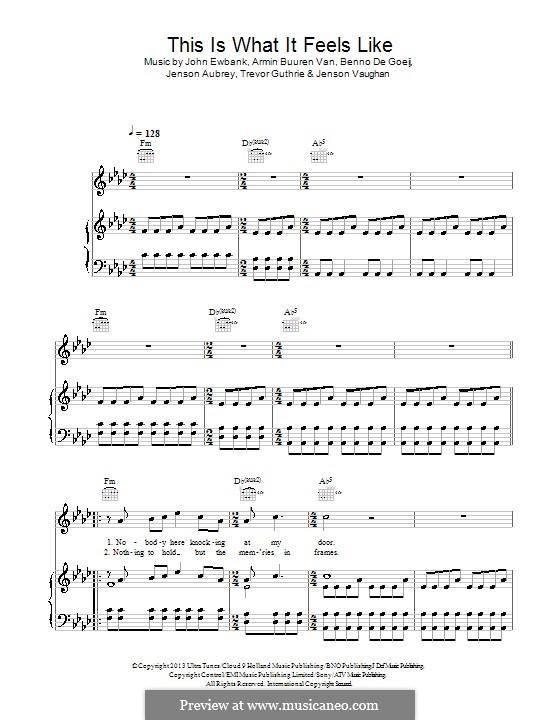 This Is What It Feels Like: Для голоса и фортепиано (или гитары) by Jenson Vaughn, Trevor Guthrie, Jenson Aubrey, Benno de Goeij, Armin van Buuren, John Ewbank