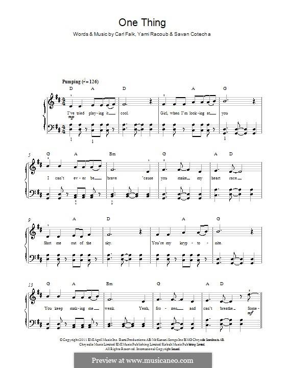 One Thing (One Direction): Для фортепиано by Carl Falk, Rami Yacoub, Savan Kotecha