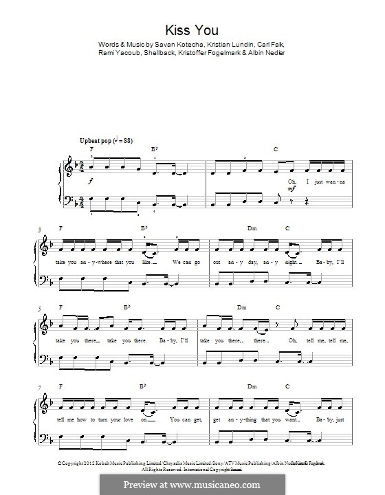 Kiss You (One Direction): Для фортепиано by Shellback, Carl Falk, Kristian Lundin, Rami Yacoub, Savan Kotecha