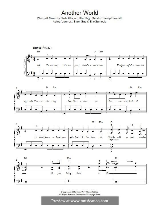 Another World (One Direction): Для фортепиано by RedOne, AJ Junior, Bilal Hajji, Eric Sanicola, Geraldo Sandell