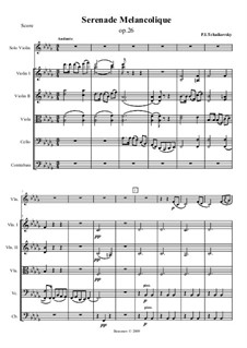 Меланхолическая серенада, TH 56 Op.26: Для скрипки и струнного оркестра by Петр Чайковский