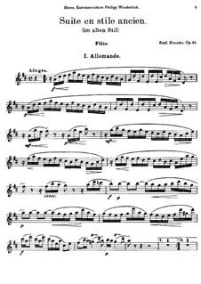 Сюита в старинном стиле для флейты и фортепиано, Op.81: Сольная партия by Эмиль Кронке