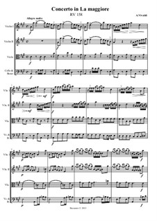 Concerto for Strings in A Major, RV 158: Score, parts by Антонио Вивальди