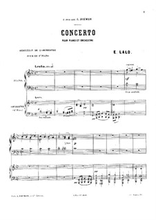 Концерт для фортепиано с оркестром: Для двух фортепиано в 4 руки by Эдуар Лало