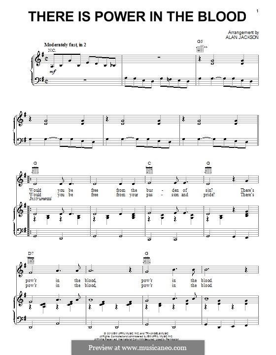 There Is Power in the Blood: Для голоса и фортепиано (или гитары) by Lewis Edgar Jones
