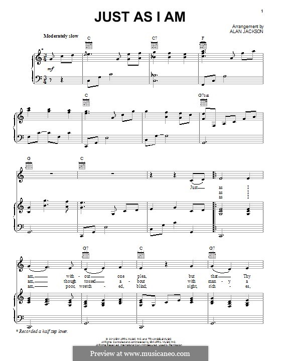 Just as I am: Для голоса и фортепиано (или гитары) by William Batchelder Bradbury