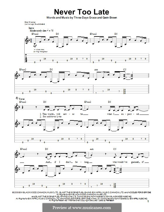 Never Too Late (Three Days Grace): Для гитары с табулатурой by Adam Gontier, Brad Walst, Gavin Brown, Neil Sanderson