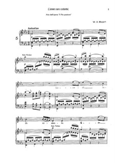 Царь-пастух, K.208: L'amerò, sarò costante, for voice and piano by Вольфганг Амадей Моцарт