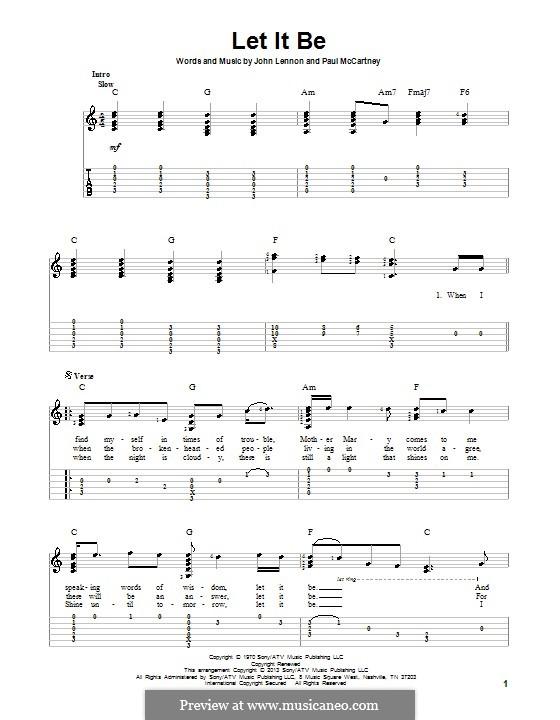 Let it Be (The Beatles): Для гитары с табулатурой by John Lennon, Paul McCartney