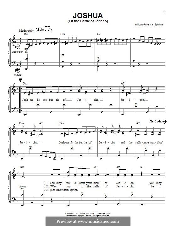 Joshua Fit de Battle ob Jericho (Joshua Fit the Battle): Для аккордеона by folklore