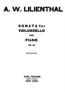 Соната для виолончели и фортепиано фа-диез минор, Op.40: Сольная партия by Абрахам Вулф Лилиенталь