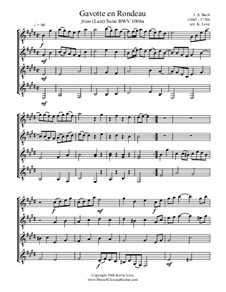 Сюита для лютни ми мажор, BWV 1006a: Gavotte en Rondeau, for four guitars – score and parts by Иоганн Себастьян Бах