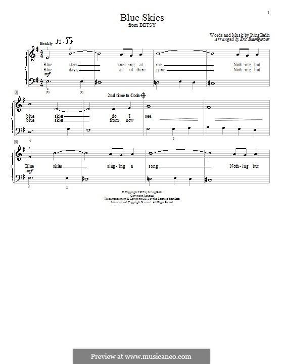 Blue Skies: Для фортепиано by Ирвинг Берлин