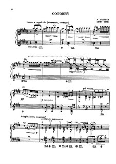 Соловей: Для фортепиано, S.250 by Александр Алябьев