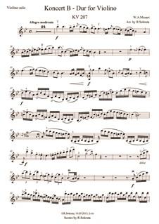 Концерт для скрипки с оркестром No.1 си-бемоль мажор, K.207: Для скрипки и струнного оркестра – cольная партия by Вольфганг Амадей Моцарт