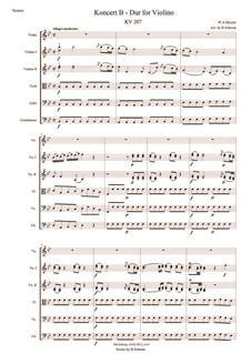 Концерт для скрипки с оркестром No.1 си-бемоль мажор, K.207: Для скрипки и струнного оркестра by Вольфганг Амадей Моцарт