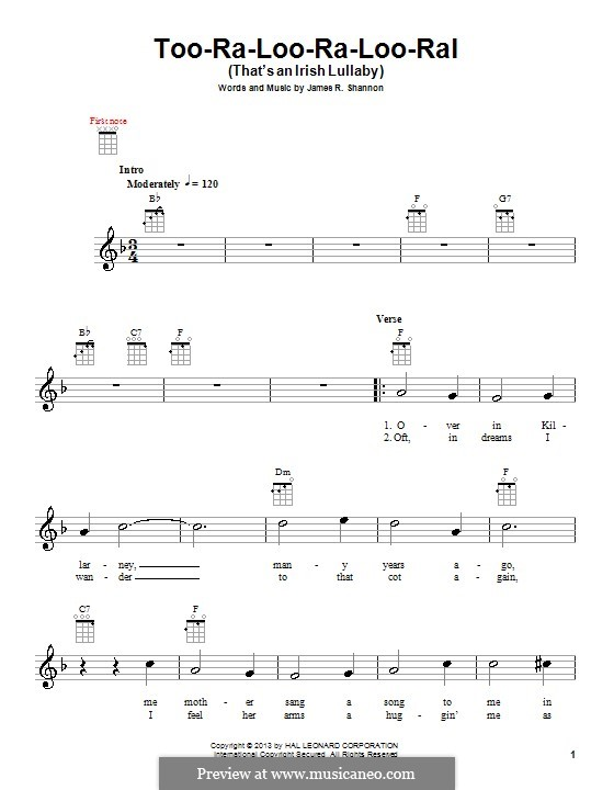 Too-Ra-Loo-Ra-Loo-Ral (That's an Irish Lullaby): Для укулеле by James Royce Shannon