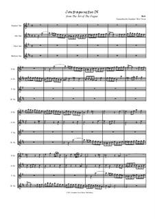 Искусство фуги, BWV 1080: No.9, for saxophone quartet by Иоганн Себастьян Бах